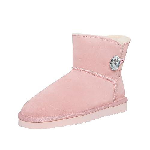 2019 original begrenzte garantie neues Konzept SKUTARI Wildleder Damen Winter Boots | Warm Gefüttert | Schlupf-Stiefel mit  Stabile Sohle | Bling Diamant Pailletten Knopf Schuhe