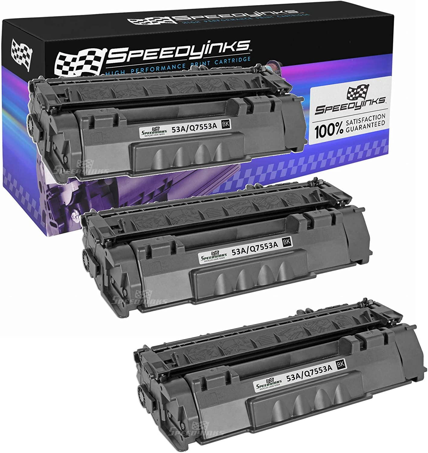 Speedy Inks Compatible Toner Cartridge Replacement for HP 53A (Black, 3-Pack)
