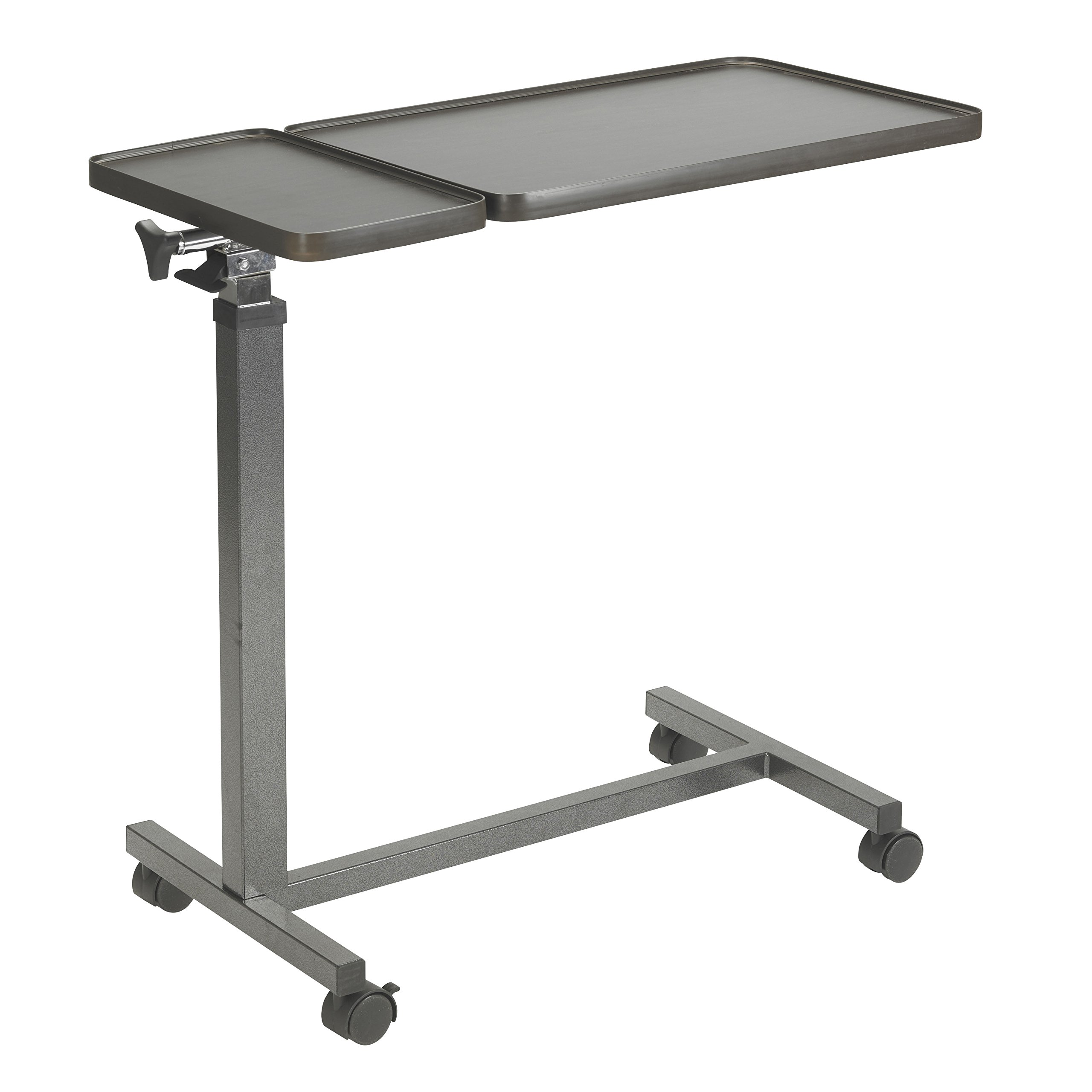 Drive Medical Multi-Purpose Tilt-top Split Overbed Table with Tray, Walnut