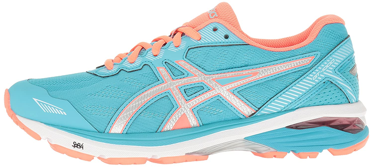 ASICS Women's Gt-1000 5 Running Shoe B01GU9LF1M 7.5 B(M) US|Aquarium/Silver/Flash Coral