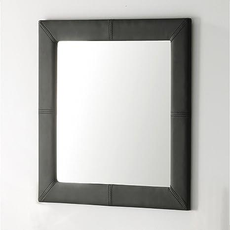 Adec - Espejo tapizado, medidas 70 x 3 x 70 cm, color negro