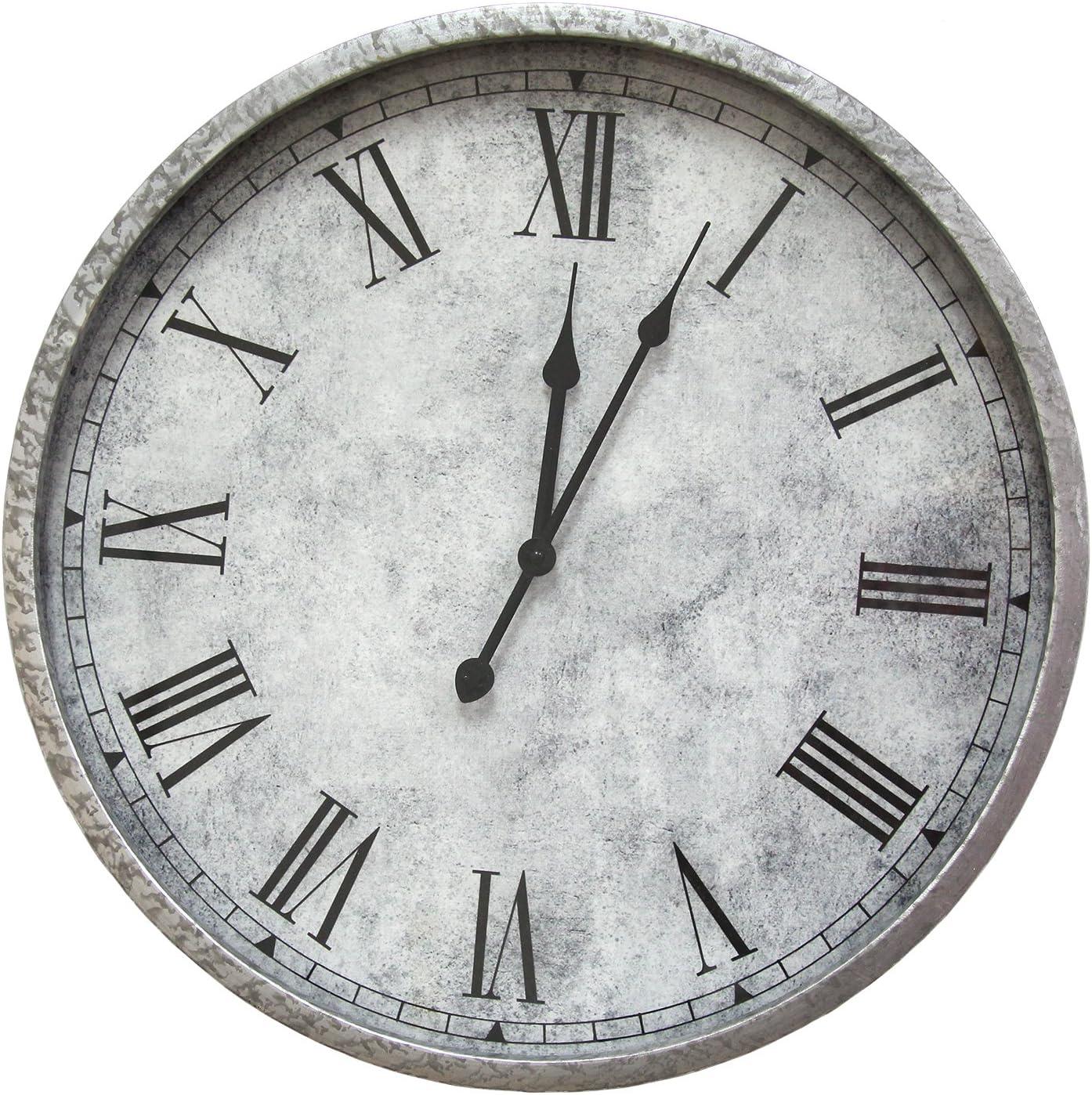 Stratton Home Decor S07721 Gaston Wall Clock, 18.00 W x 2.50 D x 18.00 H, Silver