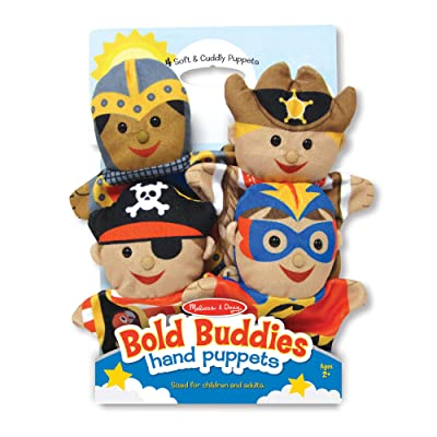 Melissa & Doug Bold Buddies Hand Puppets - The Original (Set of 4, Knight, Pirate, Sheriff, Superhero, Soft Plush, Great Gift for Girls and Boys - Best for 2, 3, 4, 5 and 6 Year Olds): Toy: Toys & Games