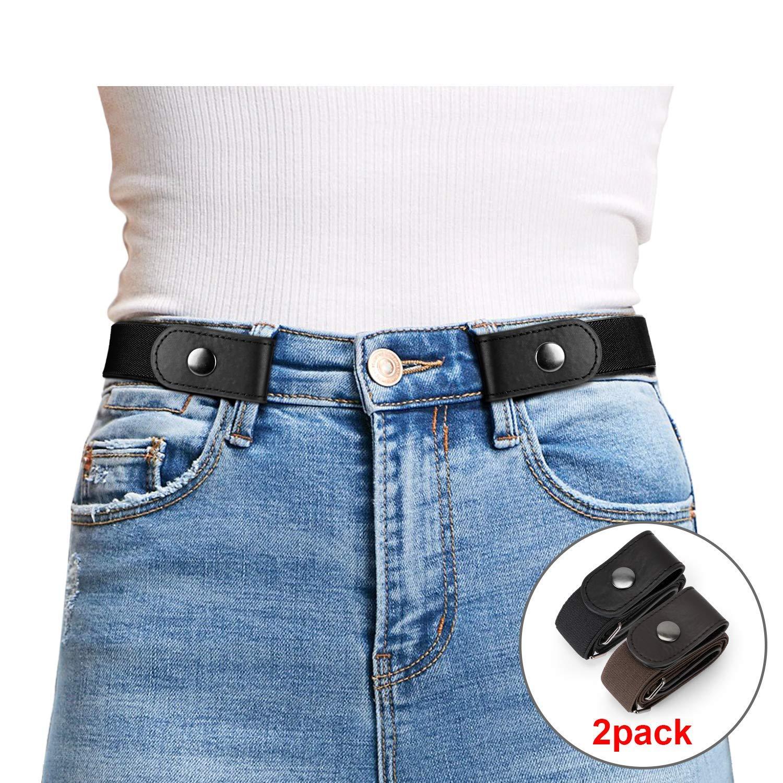 JasGood 2 Pack Schnallenfrei Elastischer Gürtel für Damen oder Herren, Ohne Schnalle Keine Ausbuchtung Unsichtbare Gürtel, Schwarz/Kaffee, Hosengrößen 55cm-90cm