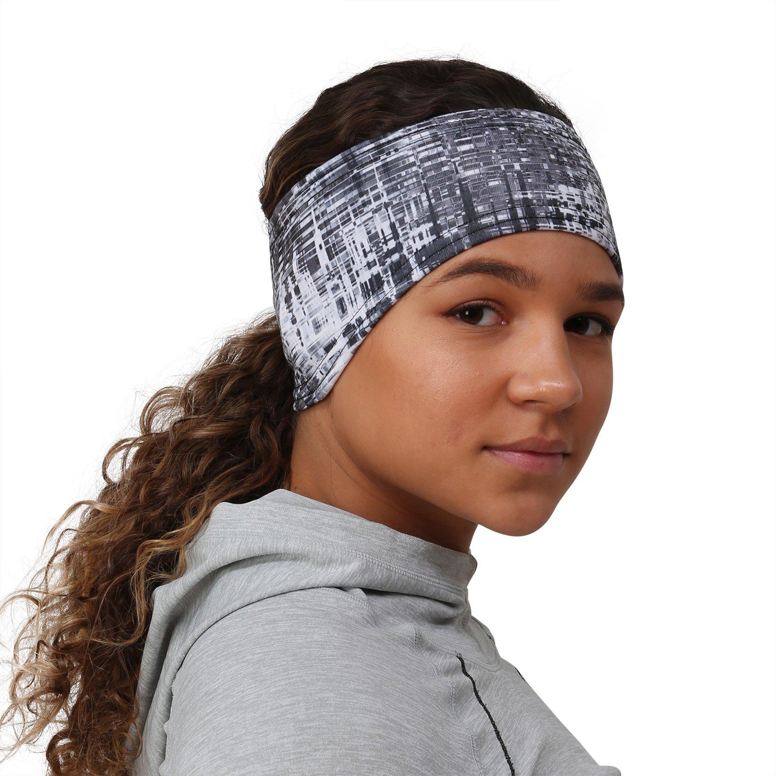 TrailHeads Print Headband | Ear Warmer and Ponytail Headband for Women – 12 Prints - Made in USA - Grey Matrix