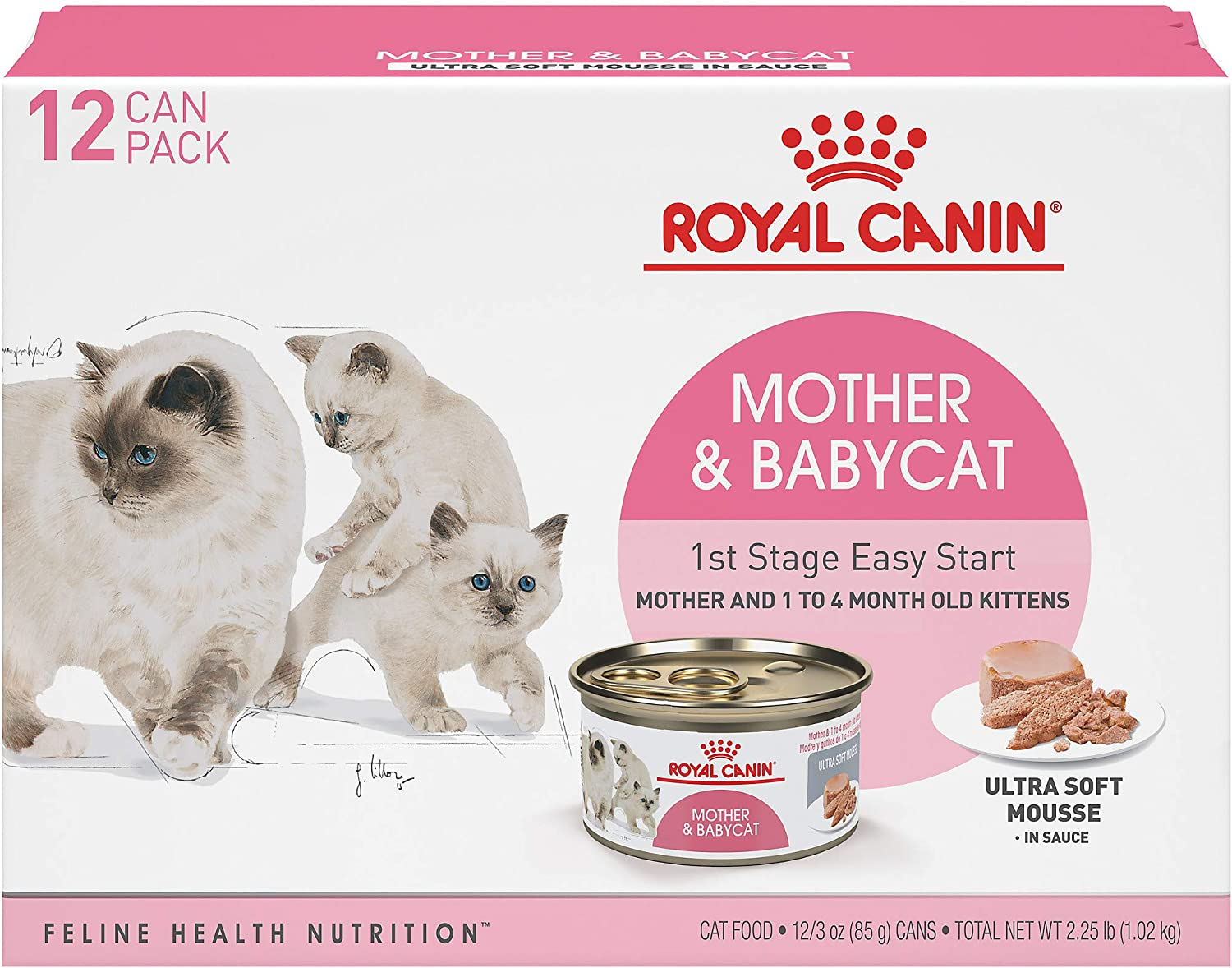 Royal Canin Mother & Babycat Ultra-Soft Mousse in Sauce Wet Cat Food for New Kittens and Nursing or Pregnant Mother Cats, 3 Ounce Can