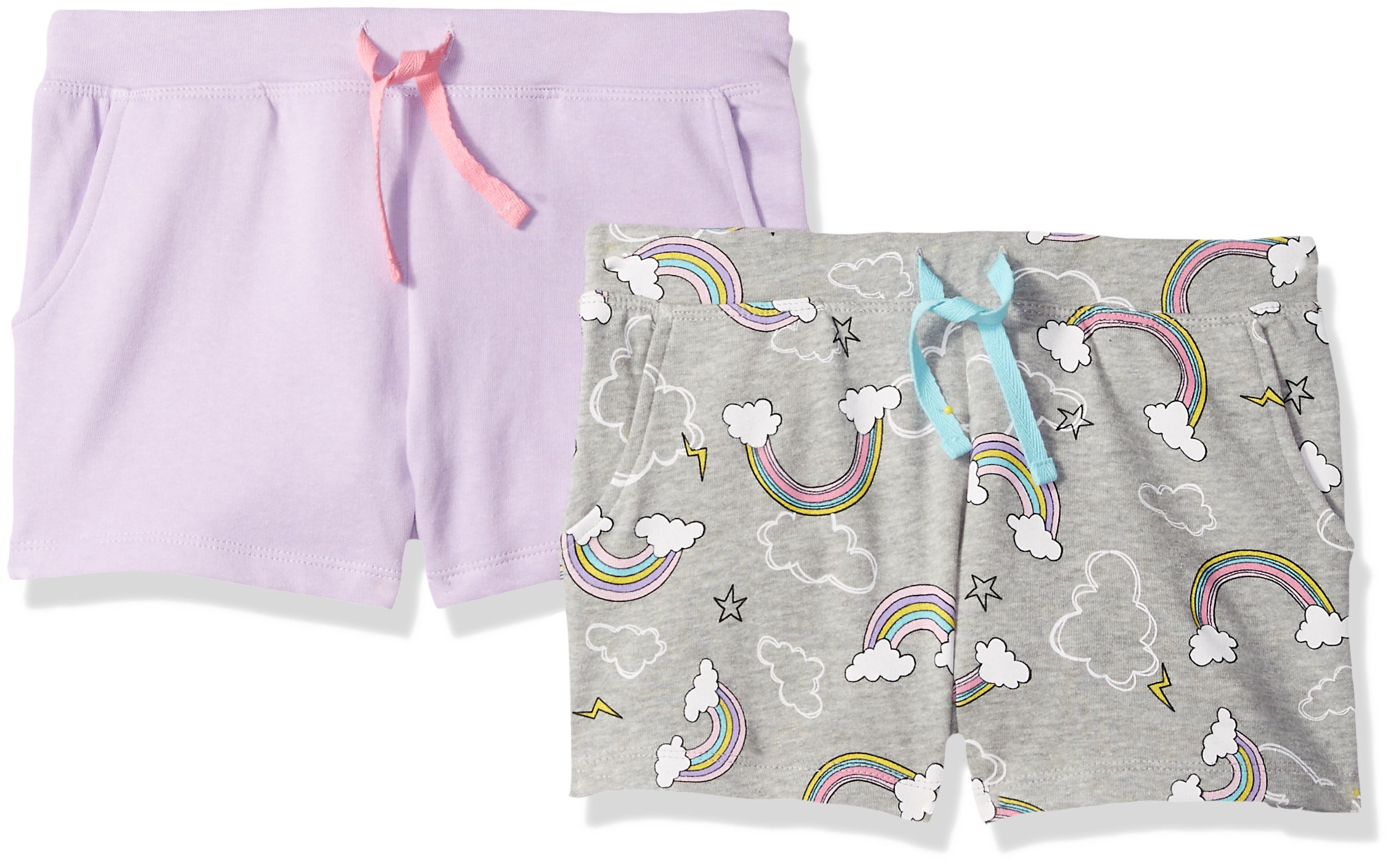 Spotted Zebra Little Girls' 2-Pack French Terry Knit Shorts, Rainbows, Small (6-7)
