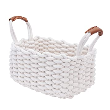 Nursery Decor Organizer, Woven Basket, Toy Storage For Baby With PU  Handles, Durable