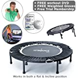 MXL MaXimus Life HIIT BOUNCE PRO folding Mini Trampoline with adjustable incline. Weighted Gloves, Mega Rebound Compilation DVD with 3 Awesome HIIT Workouts!