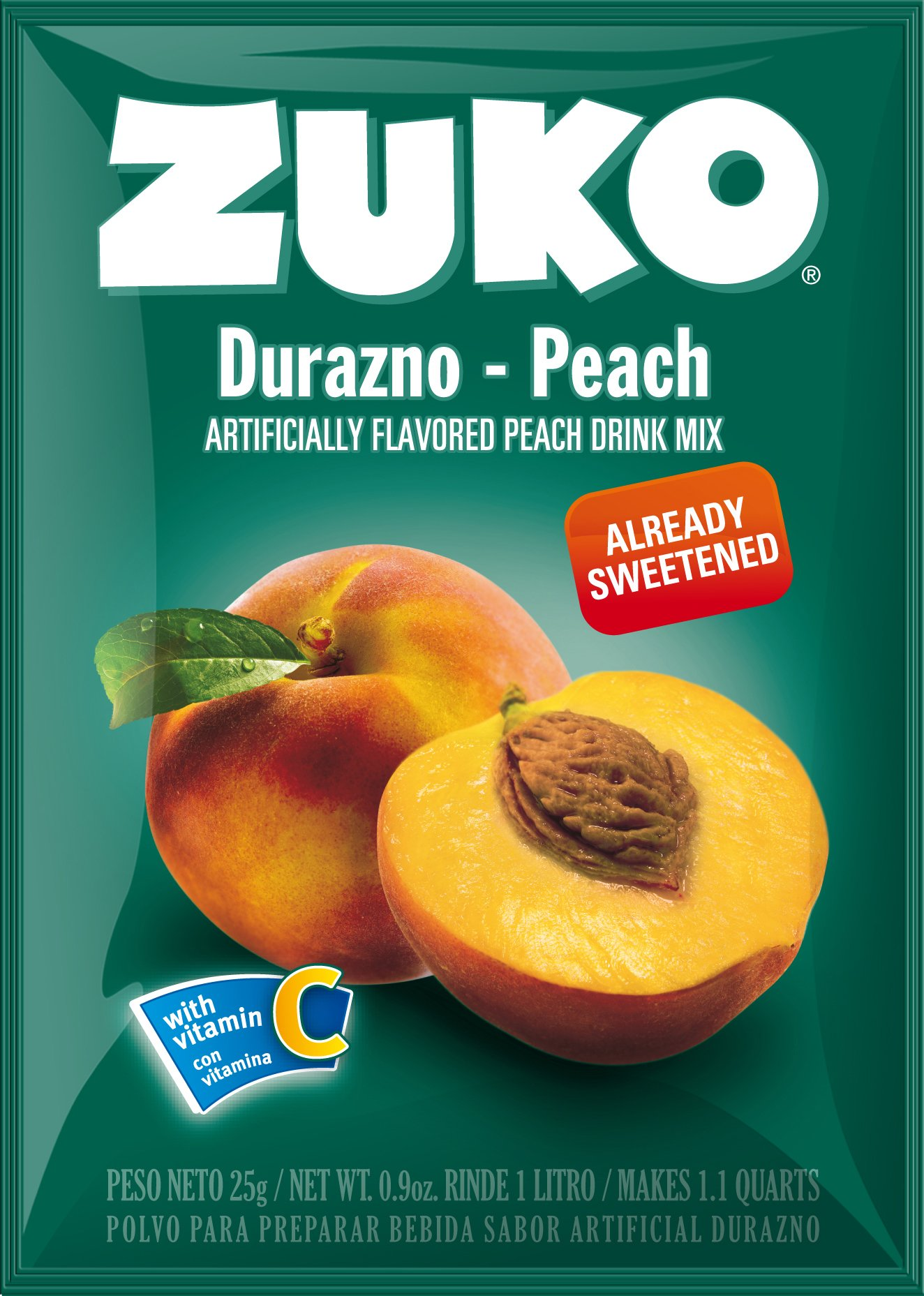 Zuko Instant Drink- Peach, 0.9-Ounce (Pack of 96)
