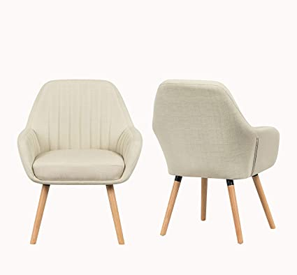 Pleasing Yeefy Contemporary Modern Muted Fabric Accent Arm Chair And Soft Padded Shell Chair With Solid Wood Legs Set Of 2 Beige Creativecarmelina Interior Chair Design Creativecarmelinacom