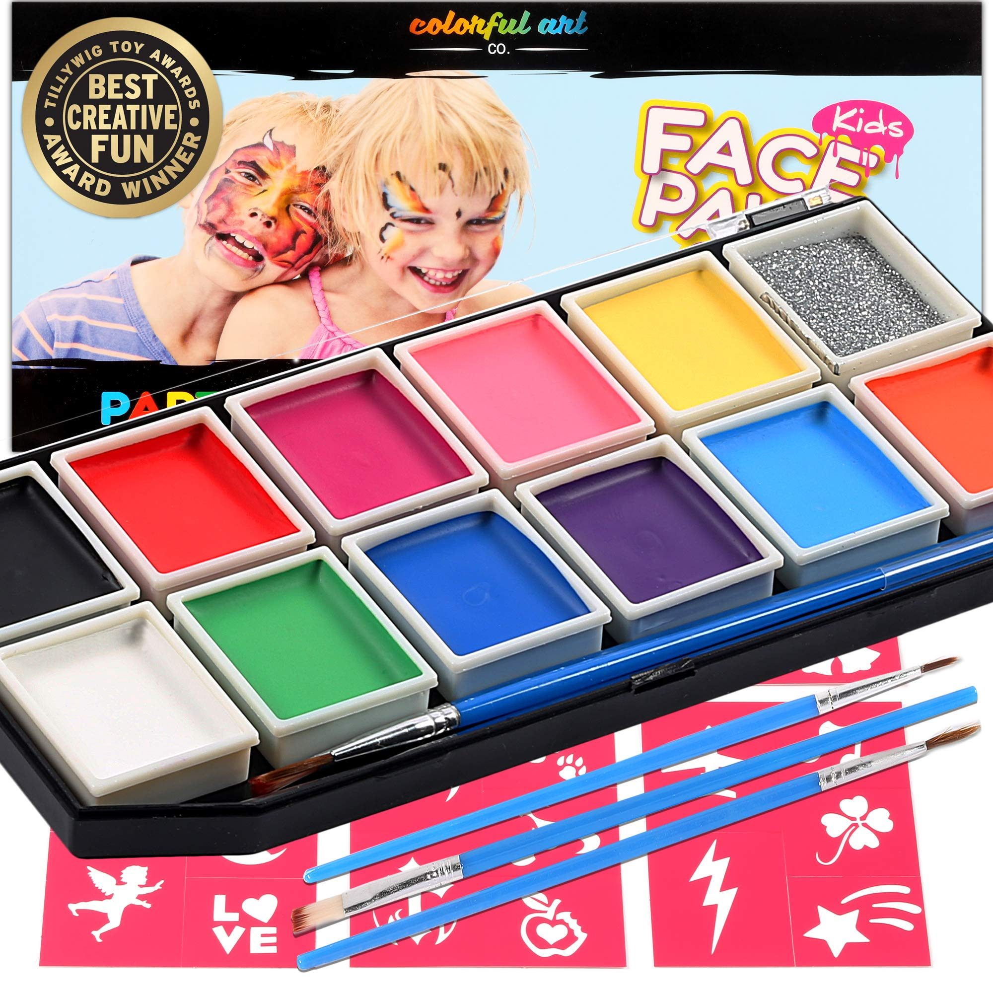 Award Winning Face Paint - Professional 12 Color Mega Palette Face Painting Kits for Kids | Best Cosplay Paints Kit | 3 Brushes Glitter 30 Stencils Sturdy Case | Fda Approved Non Toxic | Online Guide