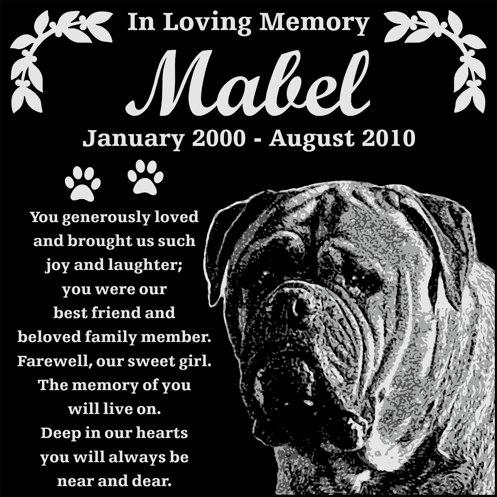 Personalized Bullmastiff Dog Pet Memorial 12''x12'' Engraved Black Granite Grave Marker Head Stone Plaque MAB1