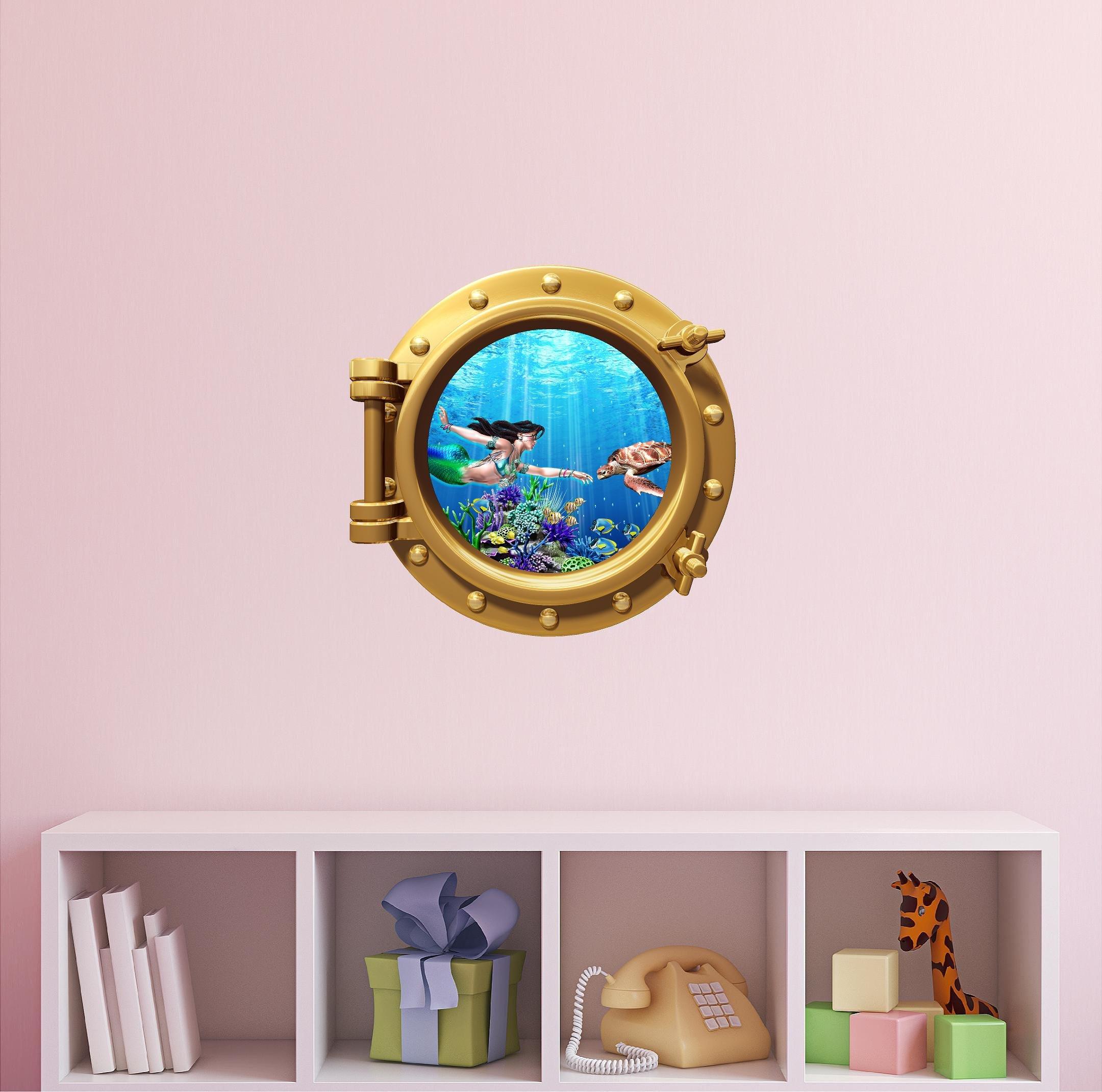 Mermaid Wall Decal - Ocean Wall Decals - Under The Sea Decal - Sea Turtle Wall Decal - Porthole Window Mermaid & Sea Turtle #1 BRONZE 12''