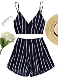 MAKEMECHIC Women's 2 Piece Outfit Summer Striped V