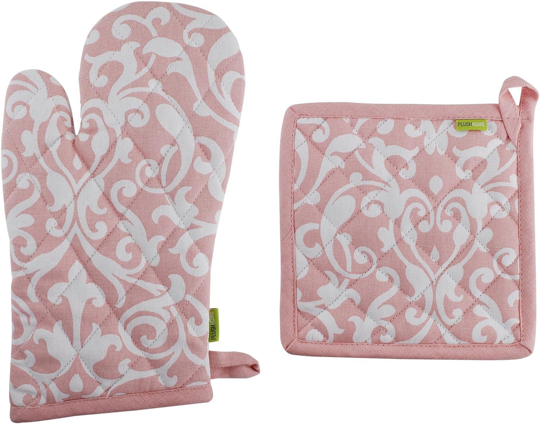 "Pot Holder And Oven Mitt Set, 100% Cotton, Set of 1 Oven mitten of Size 7""X12 Inch & 1 Potholder of Size 8""X8 Inch, Eco - Friendly & Safe, Pink Baroque Design for Kitchen"