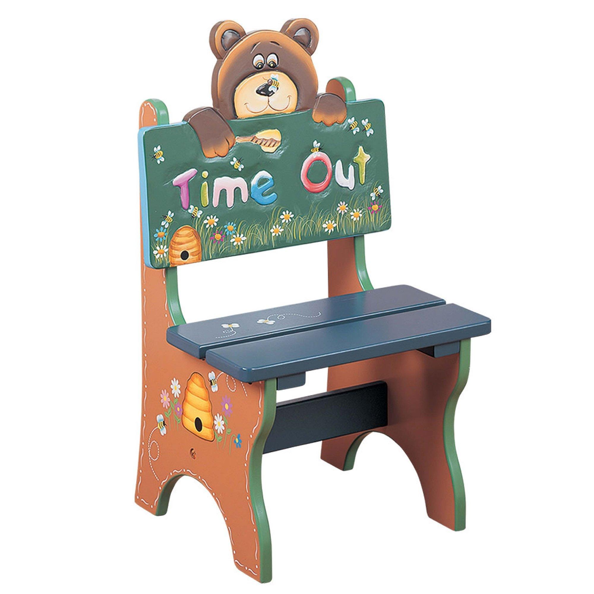 Teamson Kids - Safari Kids Wooden Time Out Chair - Bear