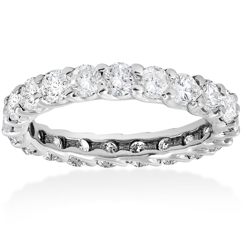 0753ef496f56d1 Amazon.com: 3ct Trellis Diamond Eternity Wedding Ring 14K White Gold:  Jewelry