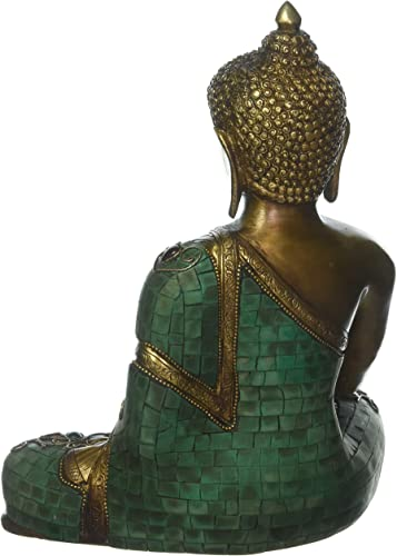 Medicine Buddha Statue- Buddhist Healing Shakyamuni Figurine for Peace and Relaxation- 11 Large Brass Turquoise Coral Lapis Tibetan Nepal Buddha