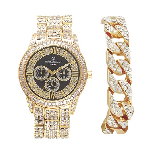 2c34de79265b Hip Hop Bling Bling Baguette - Reloj de pulsera para hombre
