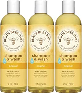 Burt's Bees Baby Shampoo & Wash, Original Tear Free Baby Soap - 12 Ounce Bottle - Pack of 3