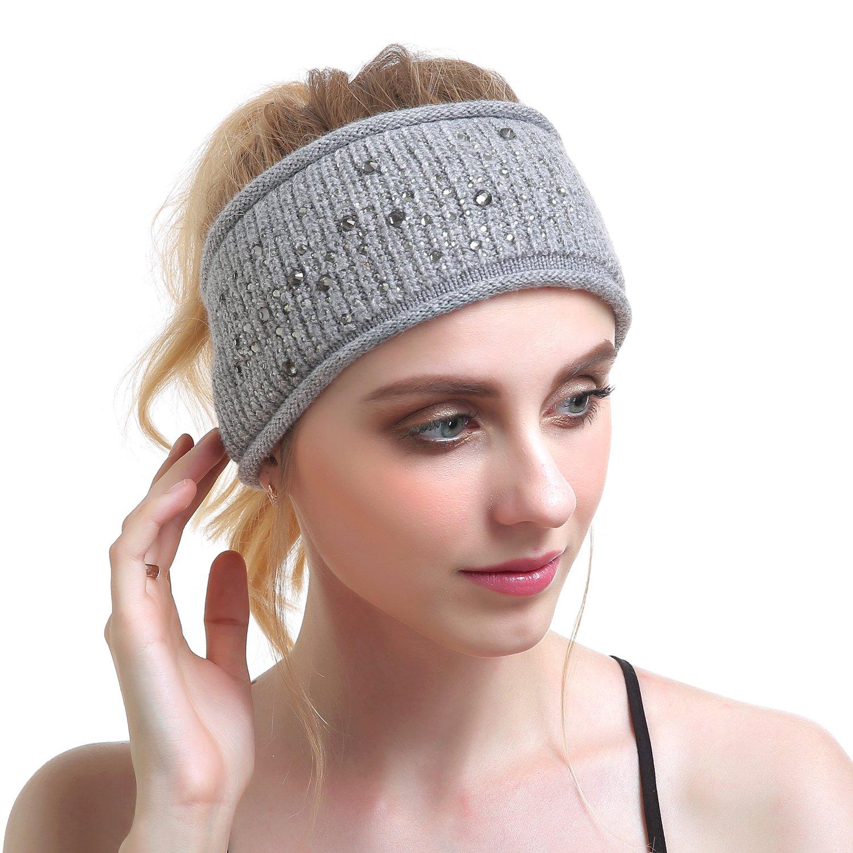 Women Knit Headband - Sport Wool Headbands Cashmere Yoga Headwear Head Wrap Ear Warmer QFHC1736B
