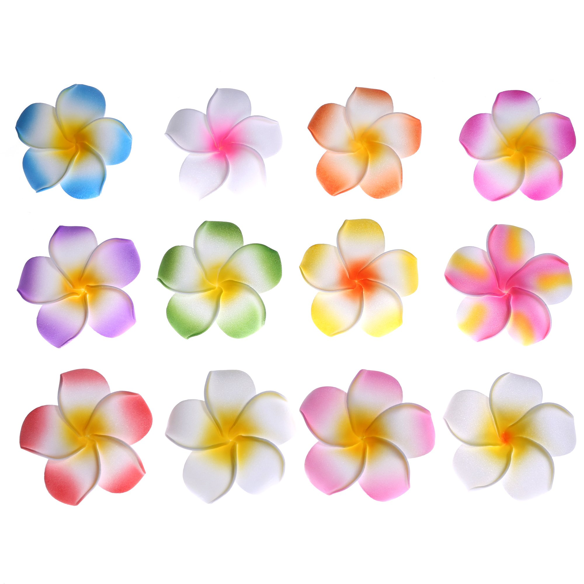 Amazon youbami set of 24 pieces 175 hawaiian plumeria foam youbami set of 24 pieces 235 hawaiian plumeria foam flower hair clip accessory izmirmasajfo