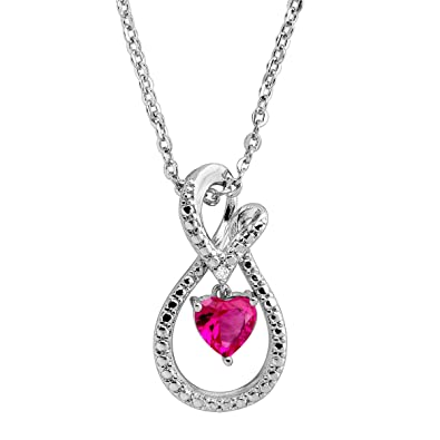 4831207d4 Amazon.com: Created Ruby Infinity Loop Pendant Necklace with Diamond in Sterling  Silver: Jewelry