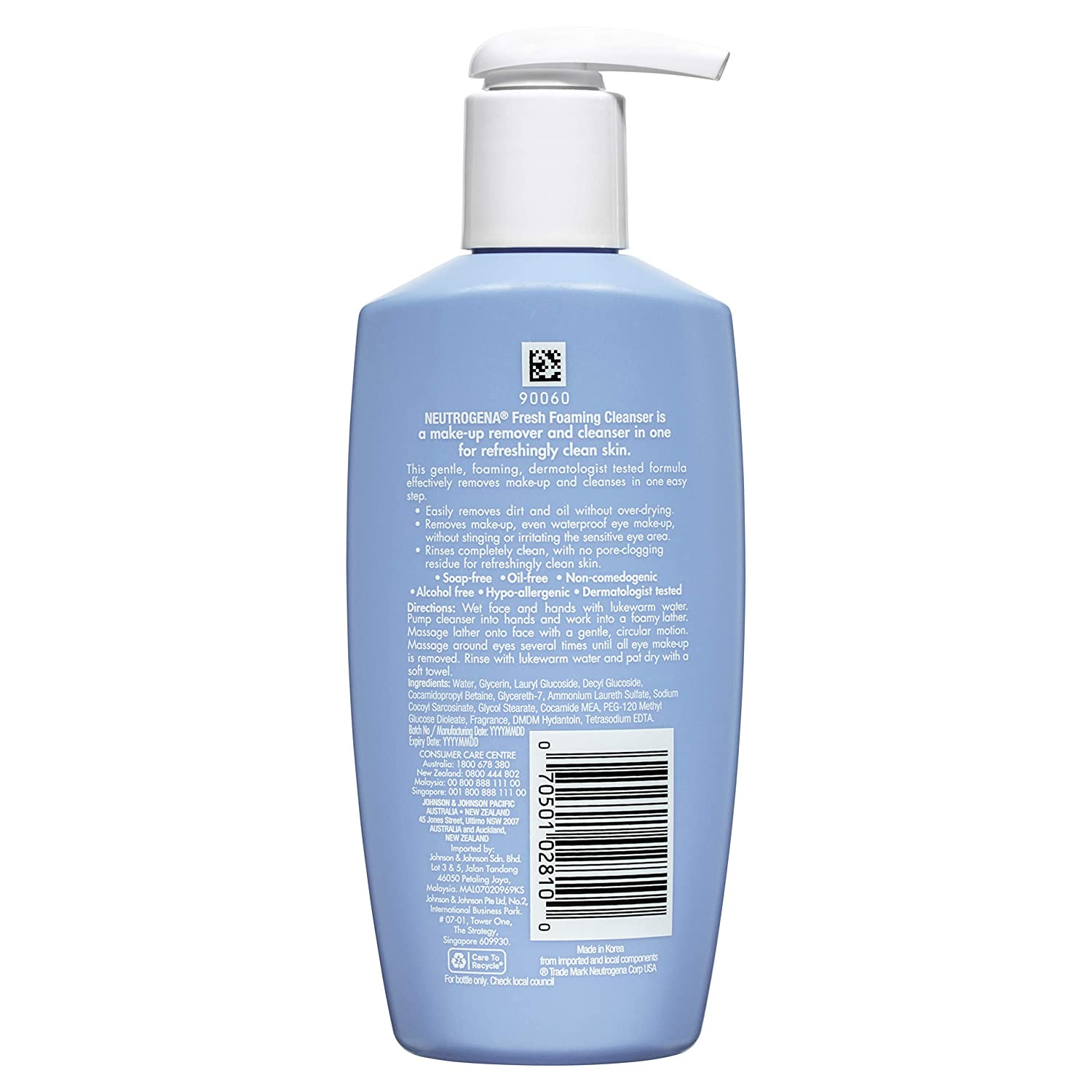 Neutrogena Fresh Foaming Facial Cleanser & Makeup Remover with Glycerin,  Oil-, Soap- & Alcohol-Free Daily Face Wash Removes Dirt, Oil & Waterproof
