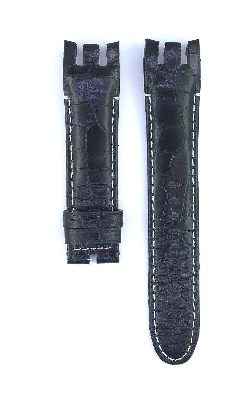 フィットyrs424 21 mmブラックカラーレザー時計ストラップ428swc  B07BTZWRLT