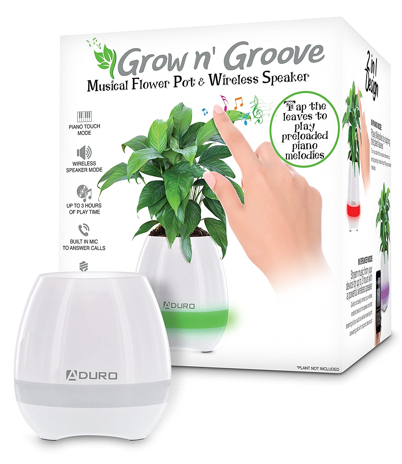 Aduro Bluetooth Plant Pot Speaker, Rechargeable Smart Music Flowerpot LED Night Light with 6 Soft Colors Magic Bluetooth Flower Pot Speaker with Leaves Touch Music Plant Lamp