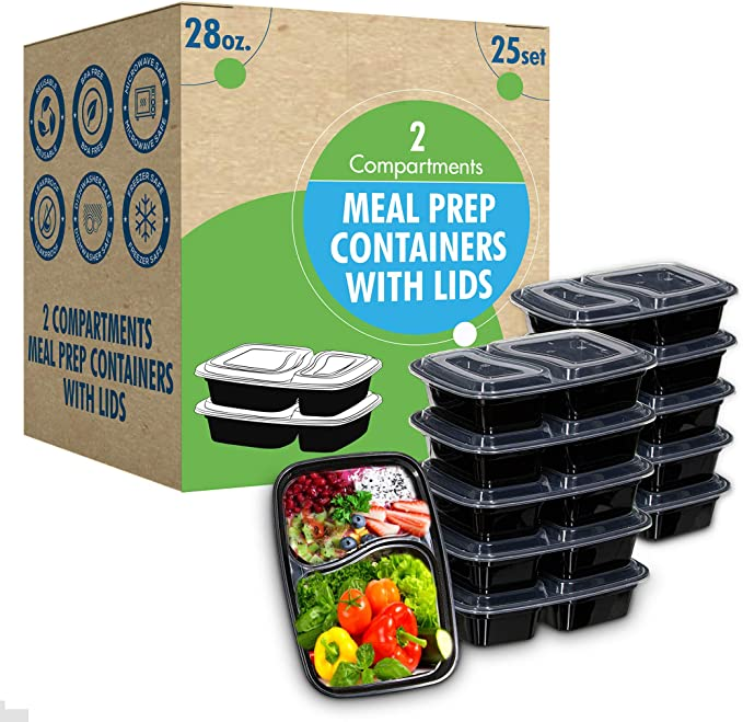LIVIVO 10 PACK MEAL PREP 2 COMPARTMENT FOOD CONTAINERS LIDS LUNCH BOX STACKABLE