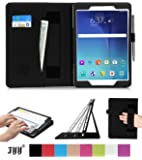 Galaxy Tab A 9.7 Case, Samsung Galaxy Tab A 9.7 Case, Fyy Premium PU Leather Case Stand Cover with Card Slots, Pocket, Elastic Hand Strap and Stylus Holder for Samsung Galaxy Tab A 9.7 inch (P550/T550) Black