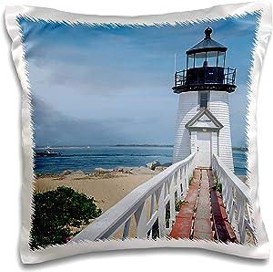 3dRose Danita Delimont - Massachusetts - Brant Lighthouse, Nantucket Harbor, Nantucket, Massachusetts, USA. - 16x16 inch Pillow Case (pc_314838_1)