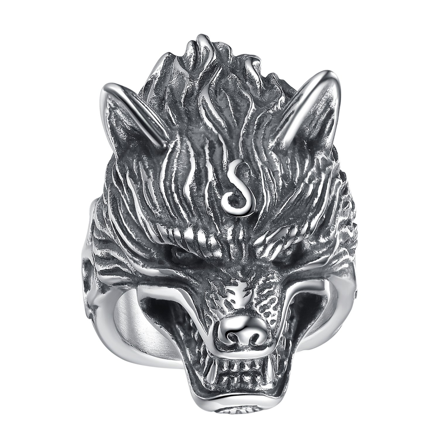 LineAve Men's Stainless Steel Wolf Biker Ring, Size 10, 8h5057s10 by LineAve (Image #4)
