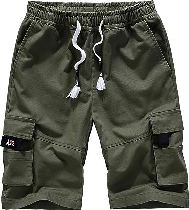 Pantalones Cortos Hombre Cargo Camuflaje Shorts Verano Algodón Cintura Elástica Short con Cordón con Bolsillos: Amazon.es: Ropa y accesorios