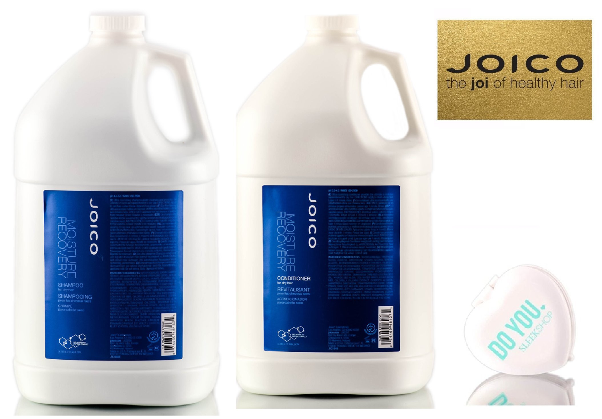 Joico Moisture Recovery Shampoo & Conditioner for dry hair DUO Set (with Sleek Compact Mirror) (128 oz / 1 Gallon Professional DUO Kit)