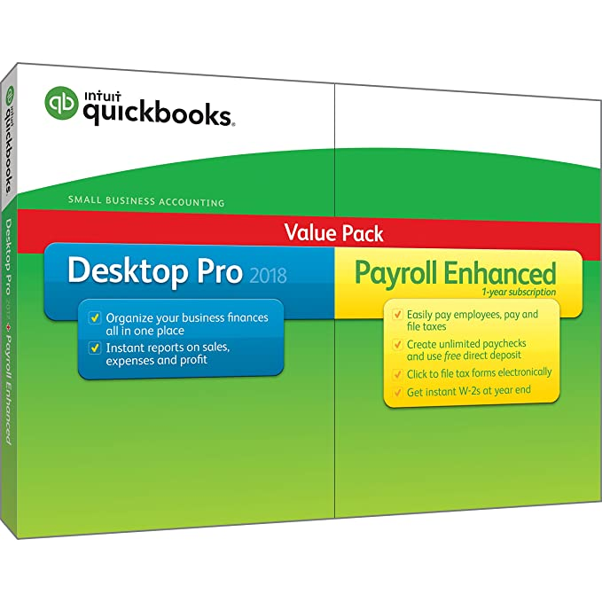 QuickBooks Desktop Pro 2018 with Payroll Enhanced [PC Disc] [OLD VERSION]