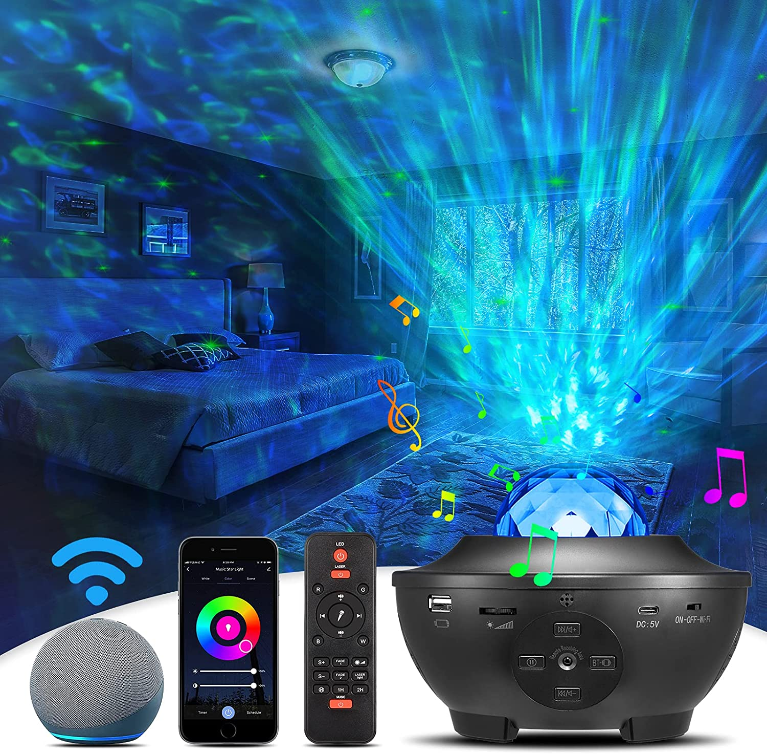 Star Projector, Smart Galaxy Projector Night Light , Starry Decor Light Compatible with Alexa and Google Home,APP and Remote Control Music Skylight Projector for Bedroom Party, Build in Speaker