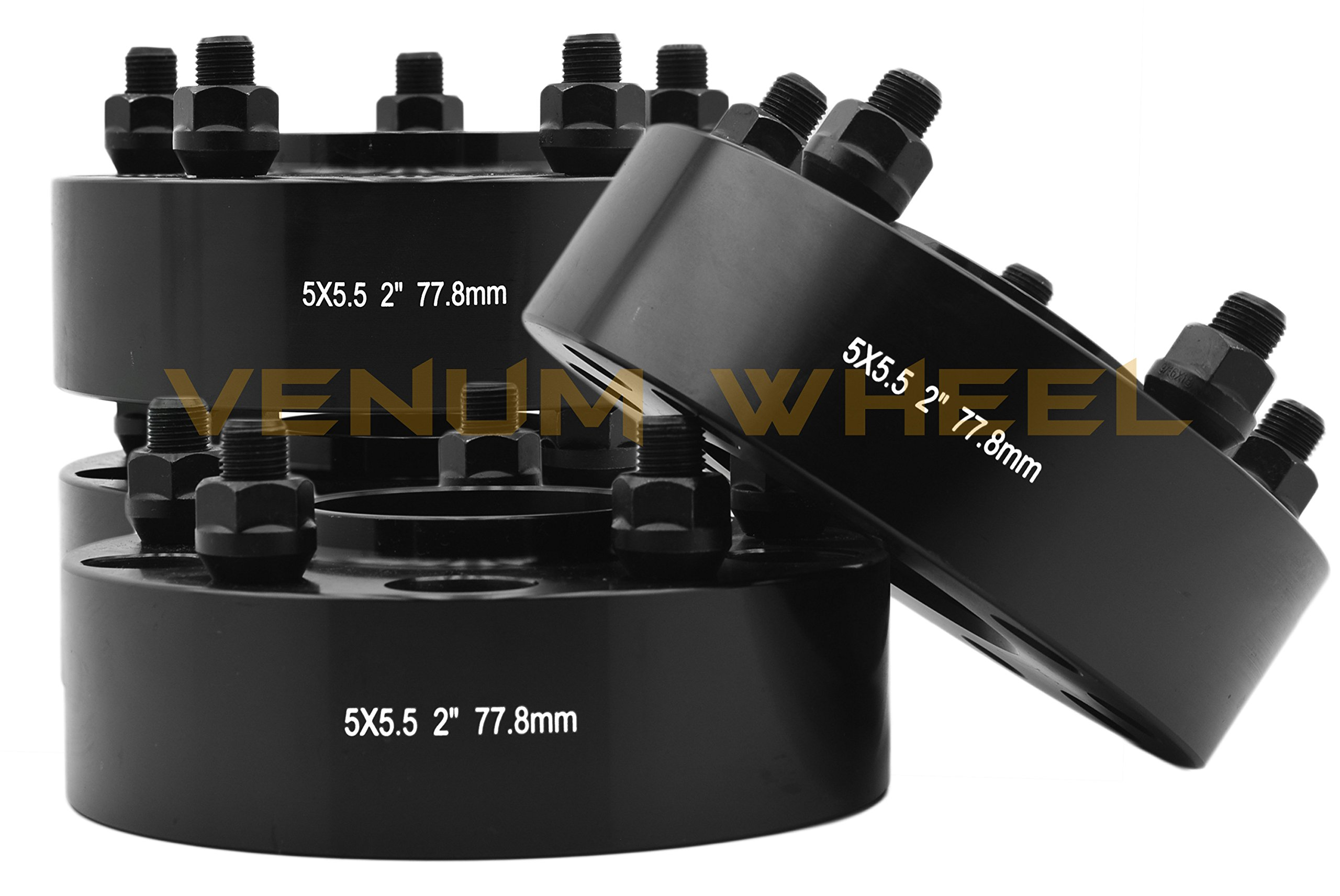 Full 4pc Set of 2012-2017 Ram 1500 5x5.5 2'' Thick Black Hub Centric Wheel Spacers Adapters 2x4 4x4