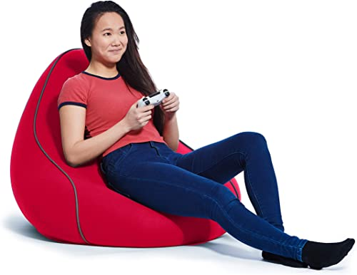 Yogibo Lounger Bean Bag for Adults, Teens, Personal Sized, Single Beanbag Lounge Chair with Raised Back or Gaming, Reading, and Relaxing, Removable, Washable Cover, Red