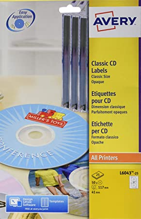 Avery-Zweckform CD/DVD Labels, Classic size, Ø 117mm (25 ...