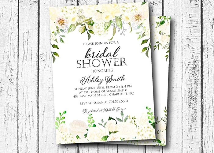 white hydrangeas bridal shower invitation bridal shower baby shower its a girl