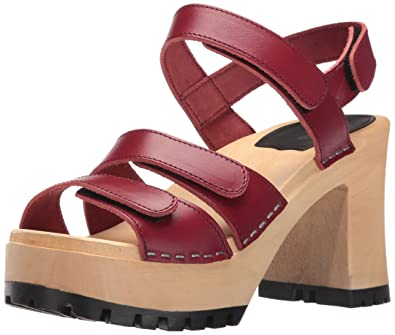 089514303bdd swedish hasbeens Women s Velcra Heeled Sandal Wine Red 5 ...