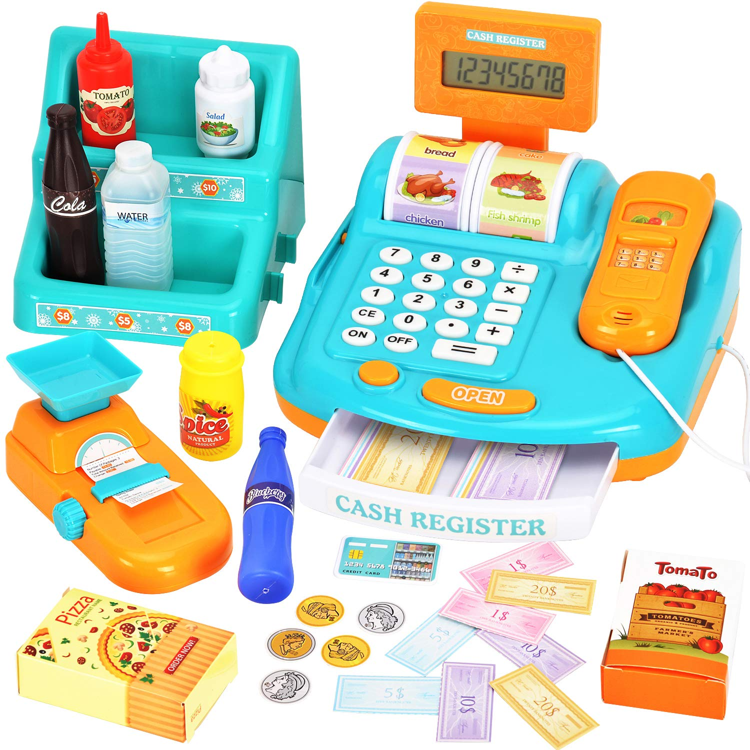 WloveTravel Toy Cash Register for Kids, Kids Smart Cash Register Toy,Pretend Play Educational Toy Cash Register with Calculator,Scale,Goods Shelf,Credit Card, Play Money & Grocery Toy for Kids by WloveTravel