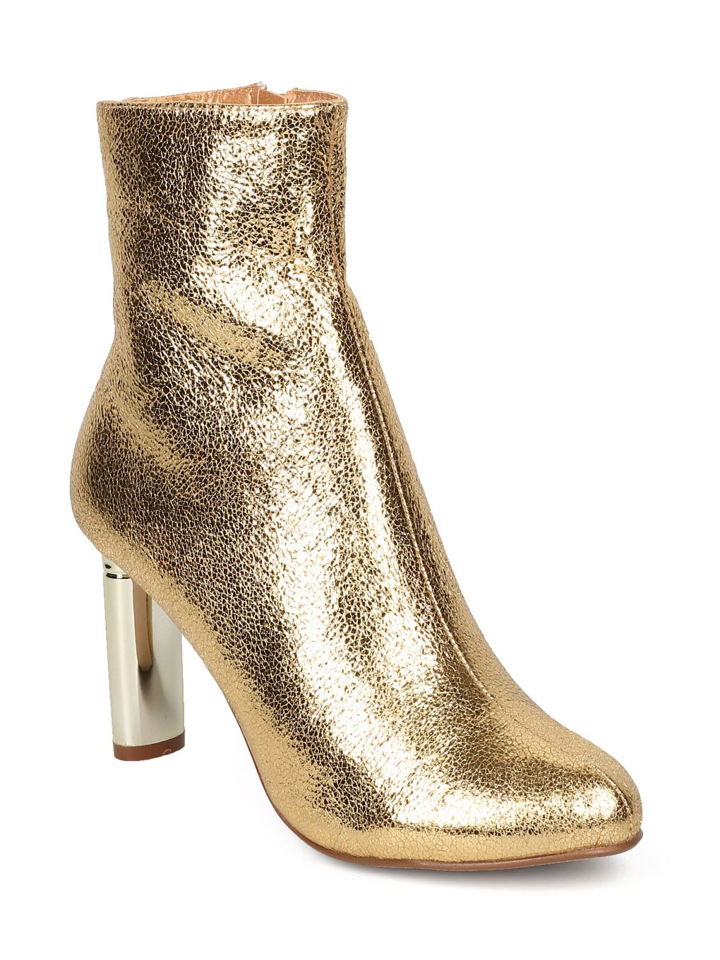 CAPE ROBBIN Women Metallic Leatherette Foiled Metallic Heel Bootie GF77 - Gold (Size: 10)