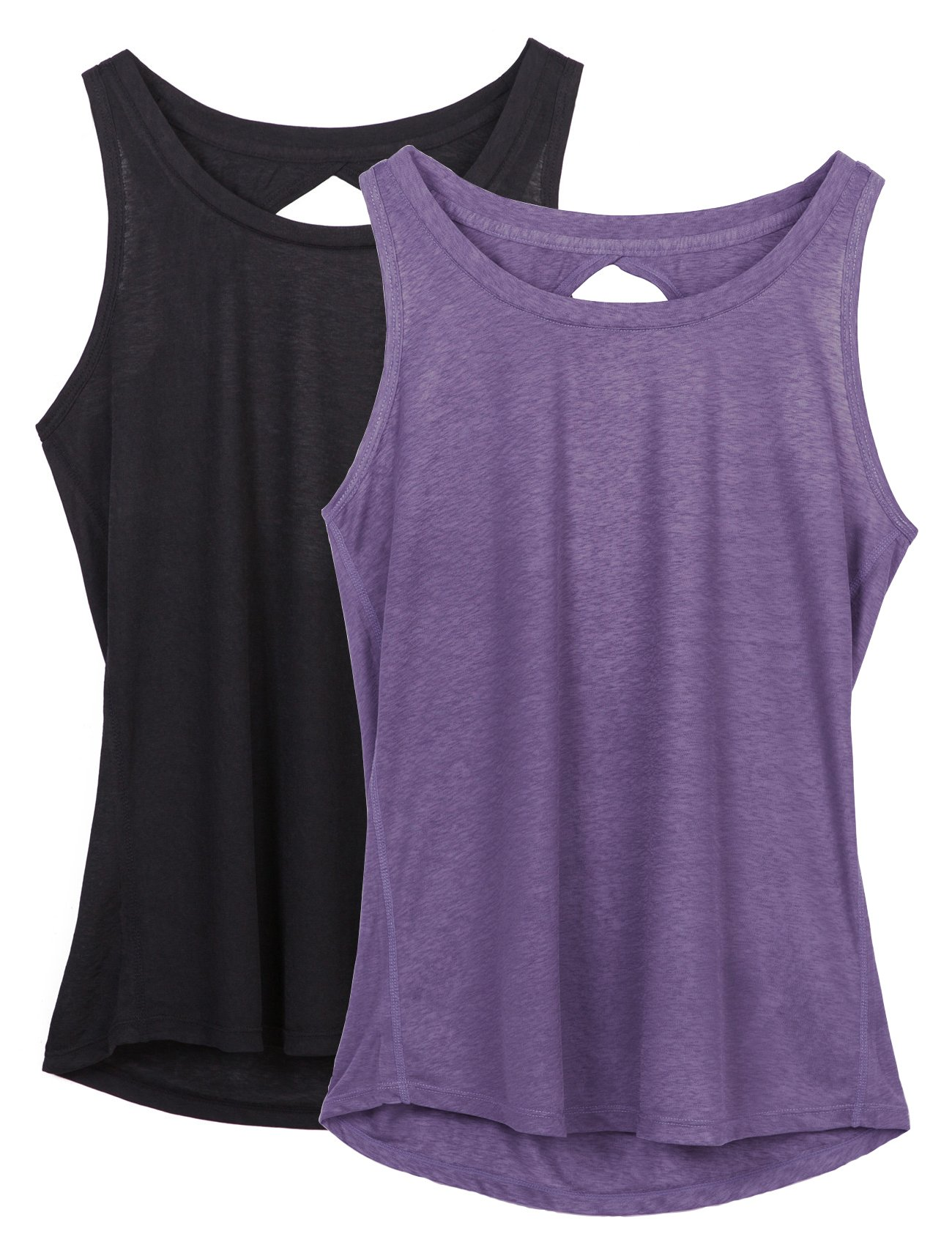 icyzone Yoga Tops Activewear Workout Clothes Open Back Fitness Racerback Tank Tops For Women(S,Black/Purple)