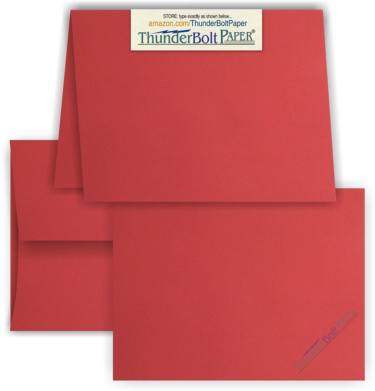 5 x 7 空白カード A-7封筒付き - 明るいアップルレッド - 25セット - マッチングパック - 招待状 挨拶 感謝 ノート 祝日 結婚式 誕生日 お知らせ B077H1XR5K