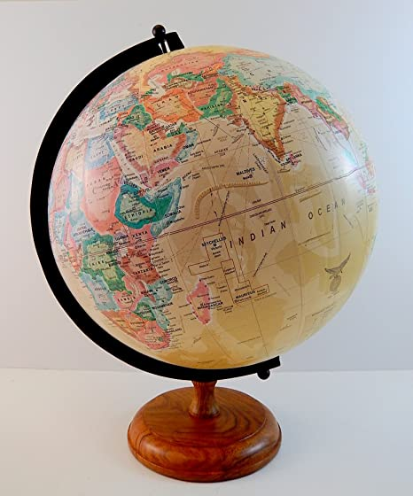 16 vintage antique style old world map globe decorative sepia w 16quot vintage antique style old world map globe decorative sepia w wood stand gumiabroncs Gallery