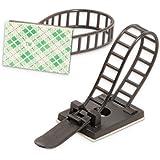 Flexowire 50 st. flexibel kabelklämma kabelfäste trådhållare självhäftande eller med skruv för skrivbord, tv etc. svart